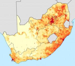 Bevölkerungsdichte Südafrikas - Quelle: wikipedia.de