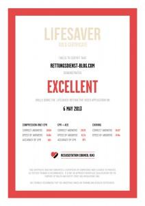 Lifesaver-Certificate for Rettungsdienst-Blog.com
